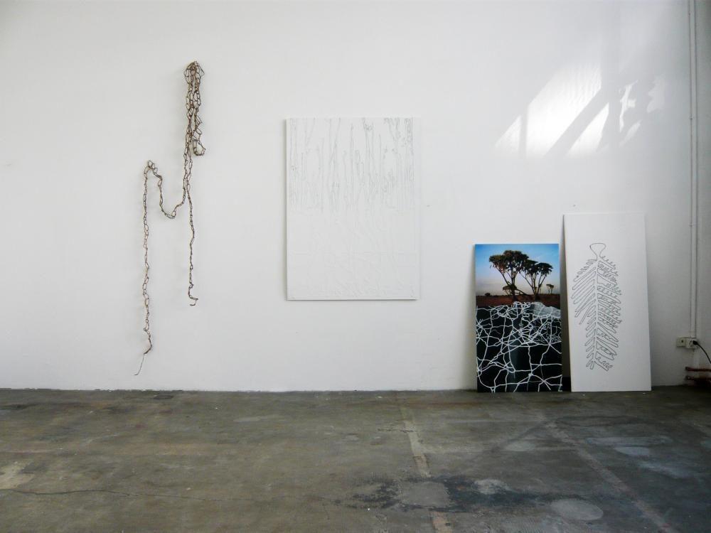 Installation, la source, 2009, Fotomontage auf Aluminium, Gipsplatten, Garn, Palmseile