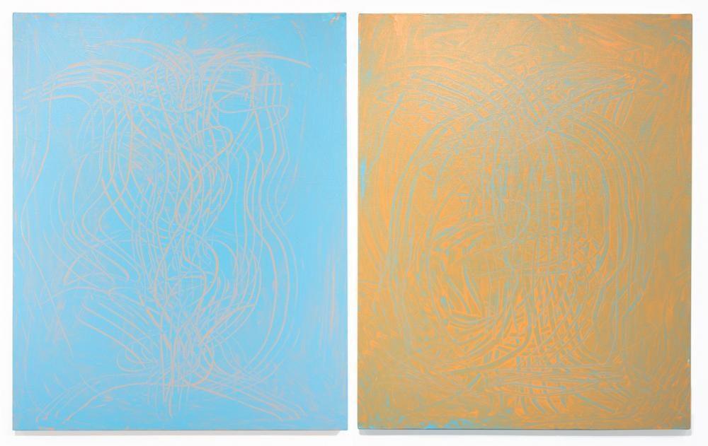 «FARBEN SINGEN DAS LIED DES NEUBEGINNS I & II» (2014) 100x80cm, Acryl auf Leinwand