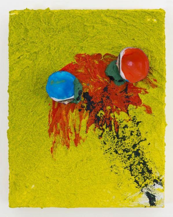 «Giocando con la fantasia di un'estate» (2012) 30x24cm, Acryl, Sand, Muscheln auf Leinwand