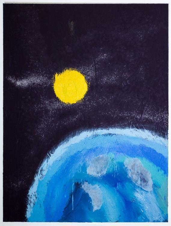 «In der Nacht fliegt die Seele weiter–e la Luna guarda» (2012) 200x150cm, Acryl, Sand und Salz auf Leinwand
