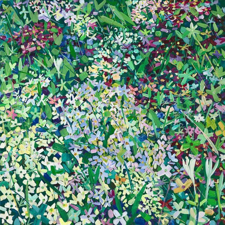 "\""Blumenmeer\"", 2013, 100 x 100 cm, Acryl auf Leinwand"