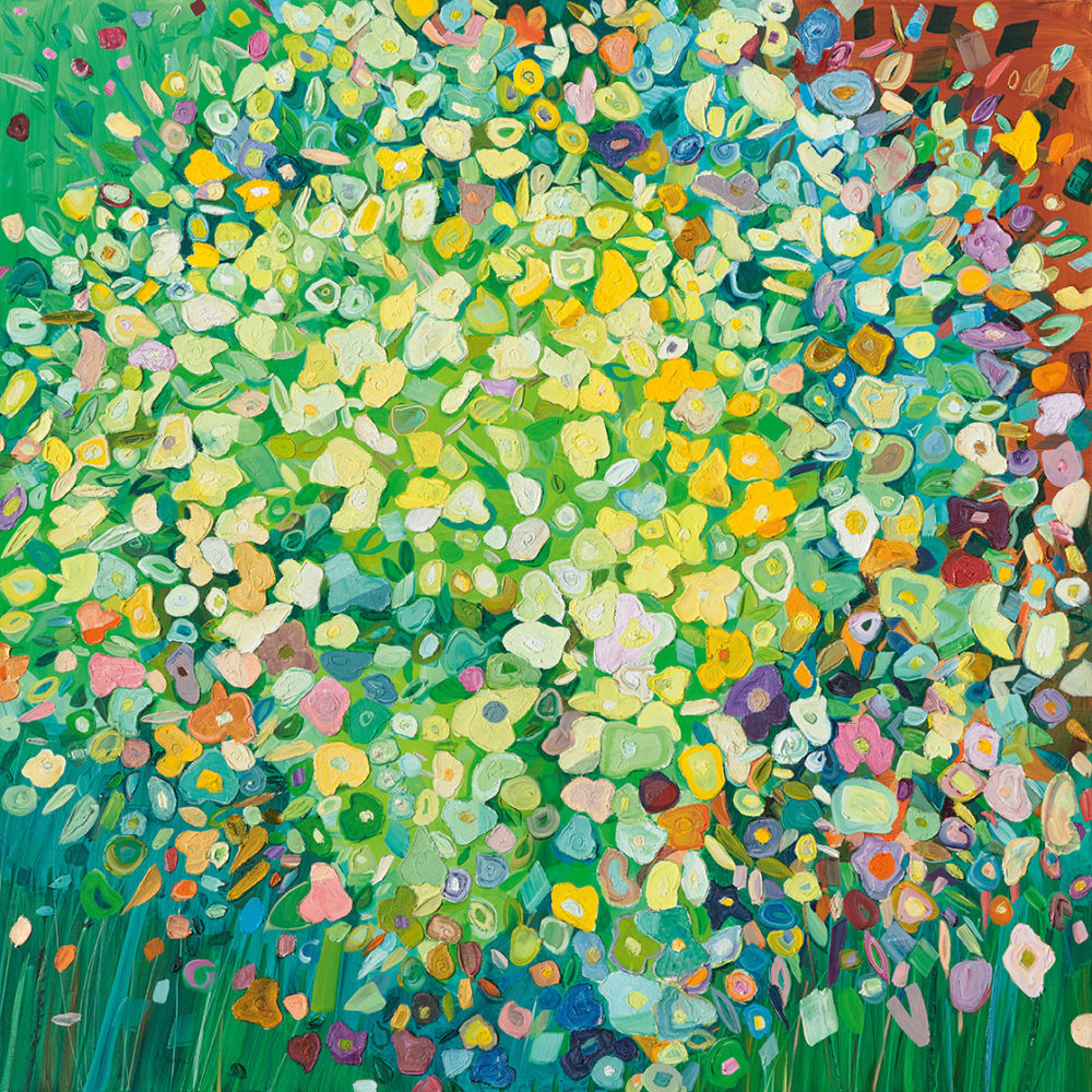Wilde Rosen, 110x110cm