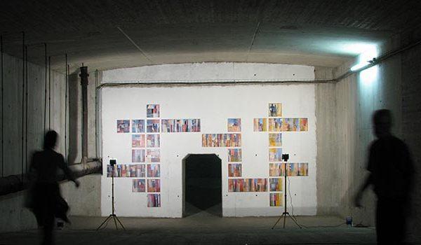 Container, installative Hängung im Hohlraum der Deutzer Brücke, Köln, 2008