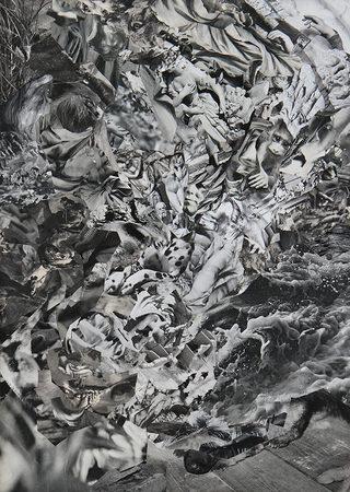 ohne Titel   2014   Analoge Collage auf Holz   59 x 42 cm