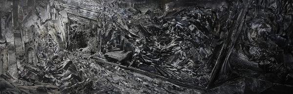 ohne Titel   2017   Analoge Collage auf Holz   65 x 200 cm