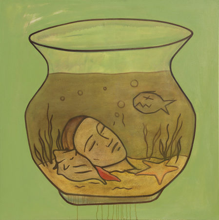 """Fish Bowl"" Oil on Canvas, 80 * 80 cm. Basel 2019"