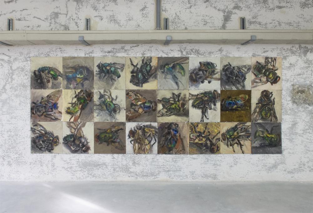 Fliegen Anstellungsansicht Galerie Reinart, 2015, je 30 x 30 cm, Öl und Eitempera auf Malpappe
