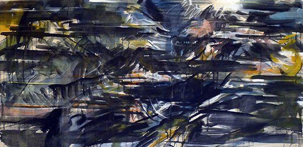 Ohne Titel, 2012 , 50/150. Pigment auf Leinwand