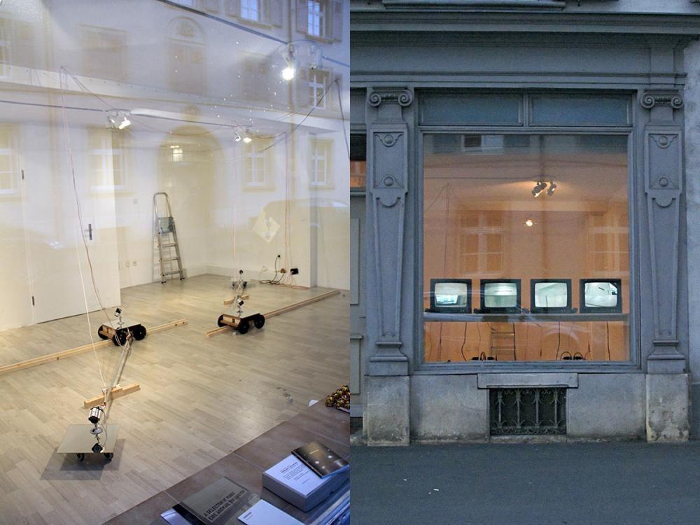 SAMPLING . Intervention (2014) / Überwachungskameras (closed circuit), Monitore, Video- und Elektrokabel, Spiegel, Elektromotore, etc. / Installation, Utengasse sechzig, Basel.
