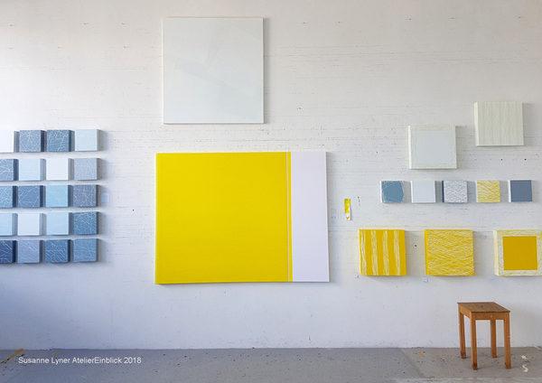 Ausstellungsvorbereitung im Atelier, 2018