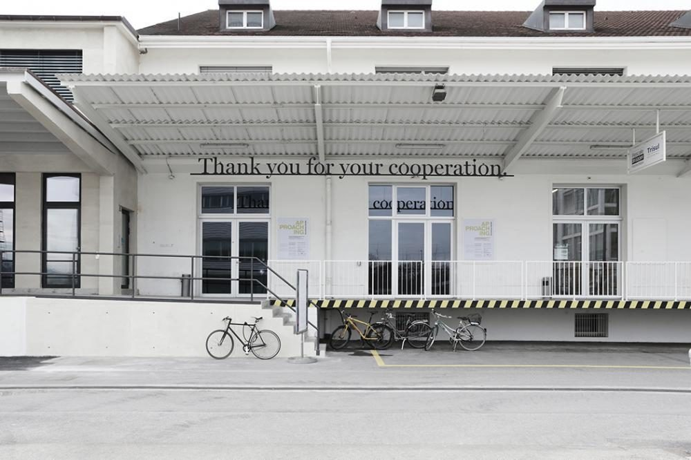 THANK YOU FOR YOUR COOPERATION | 2014 |70 x 800 cm| aluminium, black paint | site specific installation, Dreispitz Basel Part of the collective exhibition APPROACHING, KunsthausBaselland Dreispitz