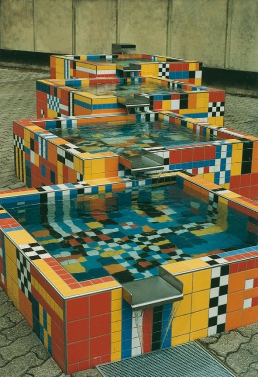 Stufen, Brunnenanlage 1997, Keramik, Schulhaus Burggarten Bottmingen
