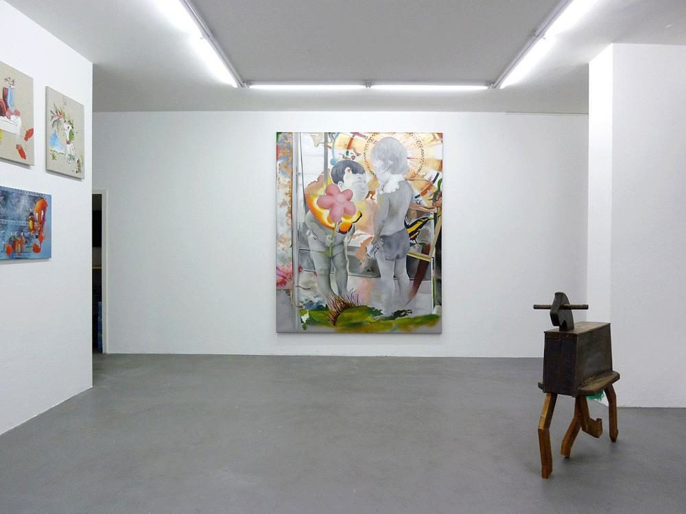 l cavaliere della rosa, 2011, Oil and spray paint on PVC, 245 x 200 cm, EX View, IF I ONLY WHERE A CHILD AGAIN