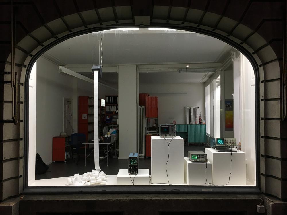 OscillDraw_hamburger, 2017, variable size, oscilloscopes, thermal printer, computer with custom software