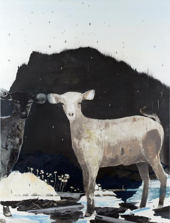 «Echo» 2012, Pigment, Acrylharz auf Leinwand, 150 x 115 cm, Kat.Nr. 352