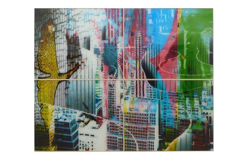 Die aufgerollte Stadt, 2008, Airbrush digital, PU Lack auf Glas, 180 x 228 cm