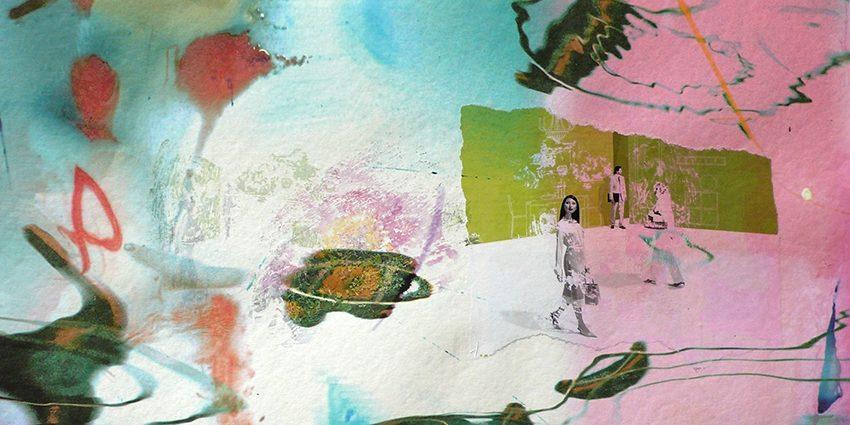 ohne Titel, 2009, Pigmentprint, Geltransfer auf Papier, 30 x 60 cm