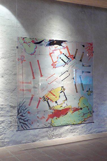 Orwell, 2014,  Digitaldruck auf Glas mit UV aushärtender Tinte, 150x150 cm