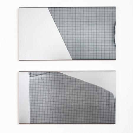 Raumstudie I und II, 2018, Siebdruck auf verchromten Stahl, jeweils 60,5 x 33 cm