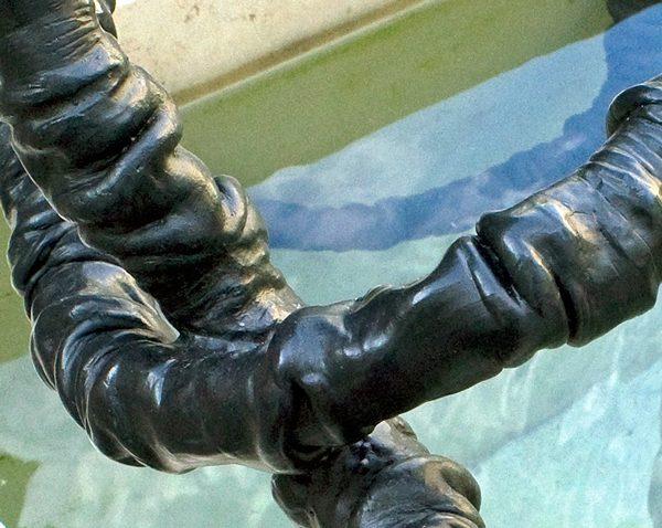 Detail, Bronzeplastik, Museum der Kulturen, Basel