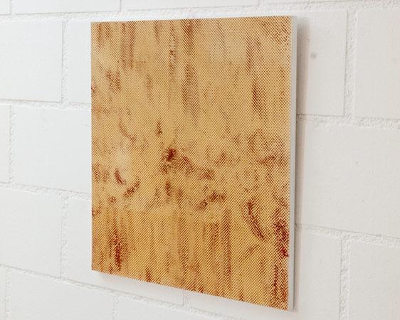 LASER CUTS (13/1), Ölfarbe durch Papier auf Holz , 40 × 37 × 1 cm, 2015