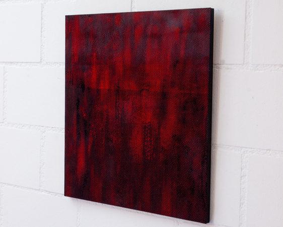 LASER CUTS (13/2), Ölfarbe durch Papier auf Holz , 40 × 37 × 1 cm, 2015