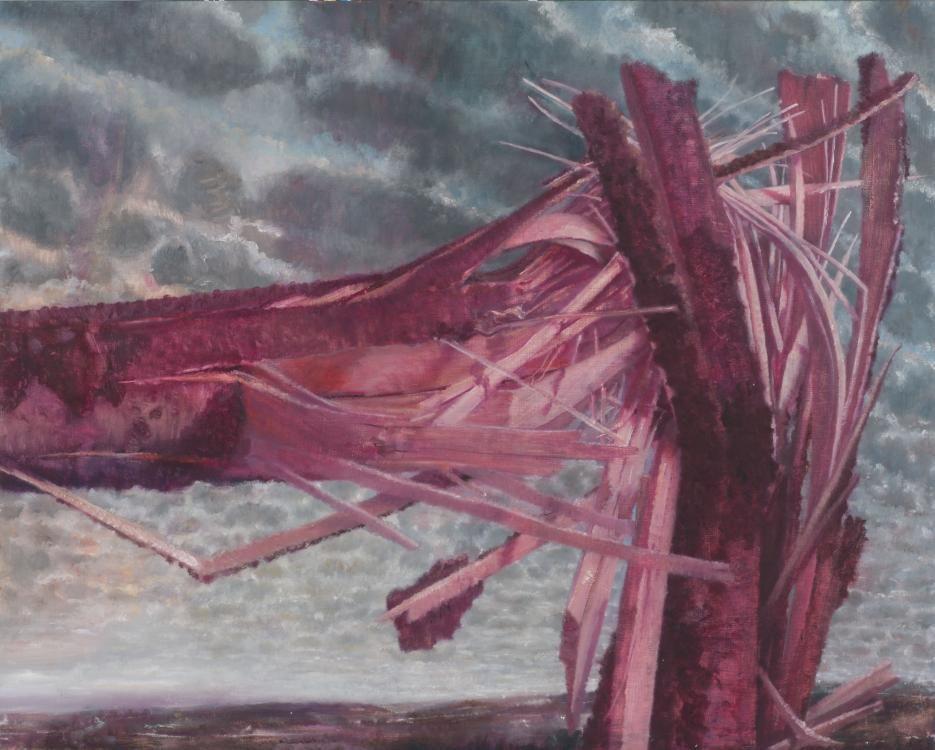 Bruch I, 69 x 88 x 10, Öl auf Holzkiste, 2011