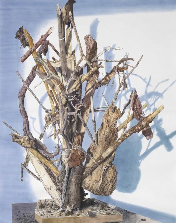 Enkelbaum, 297 x 250 cm, Aquarell auf Papier, 2015