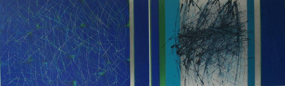 Streifenbild, 2014, 44 x 144 cm, Acryl auf Folien