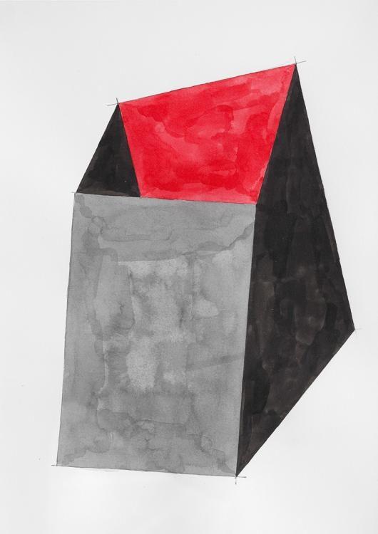 Ohne Titel / 2015, Tusche auf Papier, mit Rahmen 30x24 cm