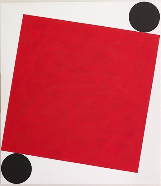 Rotes Quadrat, gehalten / 2016, Acryl auf Baumwolle, 160x140 cm