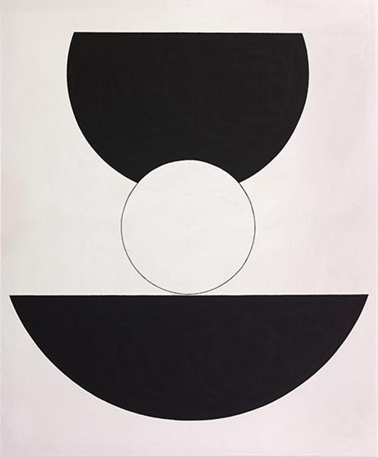 Weisser Kreis, dazwischen / 2016, Acryl auf Baumwolle, 170x140 cm