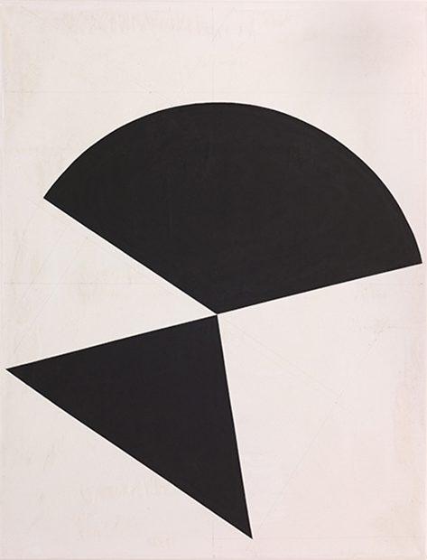 Dreieck begegnet Dreiviertelkreis / 2016, Acryl auf Baumwolle, 130x100 cm