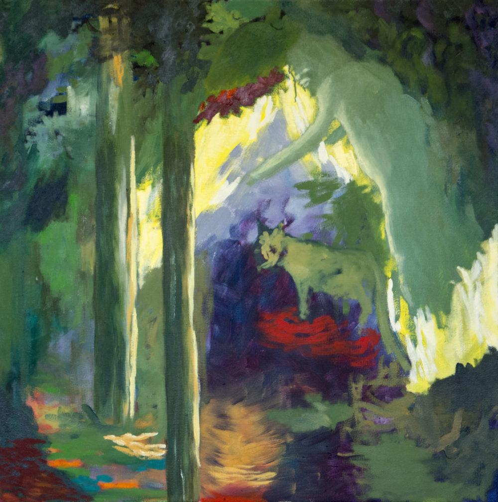 Dans la forêt 2017 Oel auf Leinen 100 x 100 cm