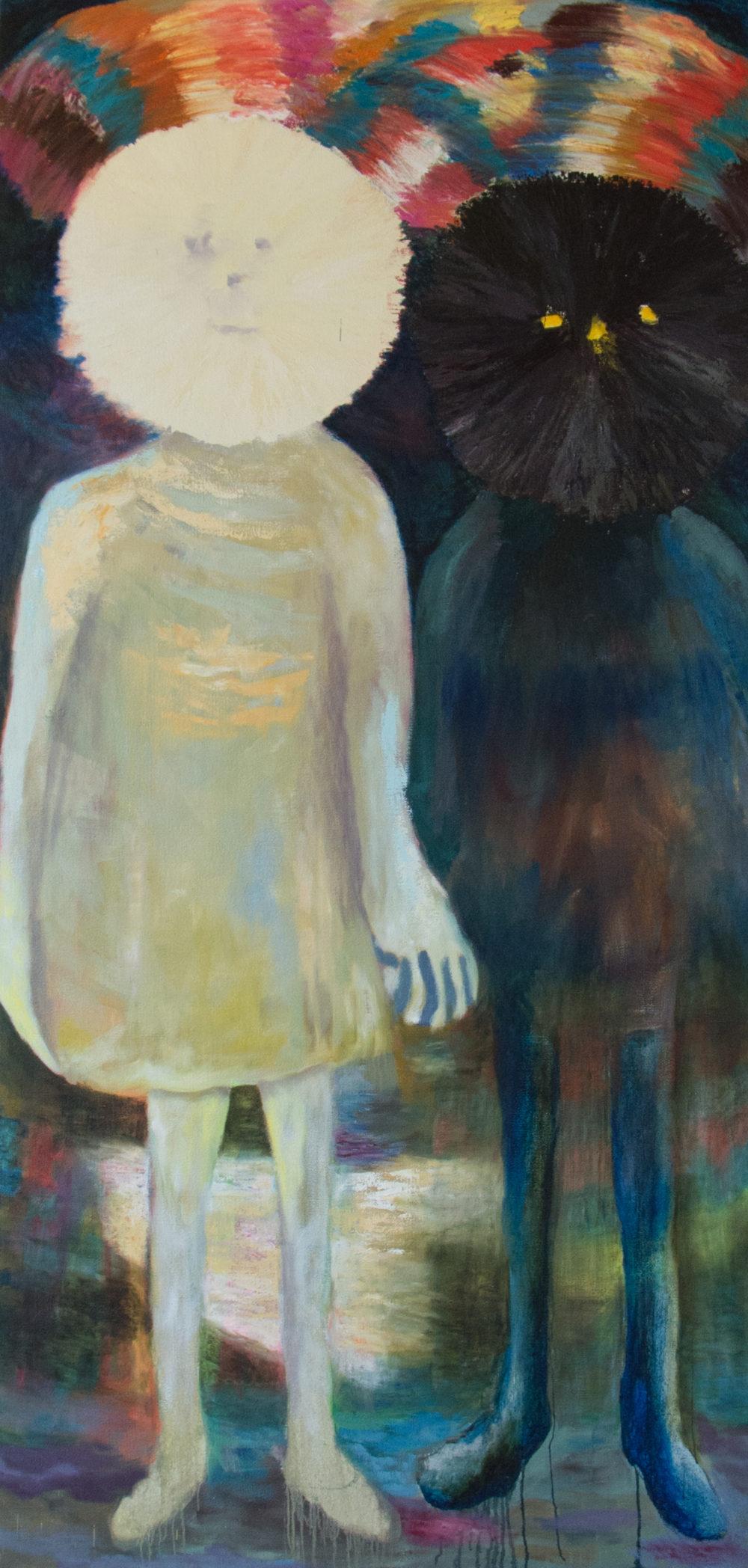 Jour et nuit 2016 Oel auf Jute 250 x 120 cm